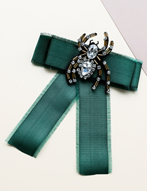 Fashion Green Fabric Diamond-studded Spider Hair Fringed Bow Tie Brooch