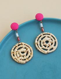 Fashion Pink Fabric Wooden Woven Round Earrings