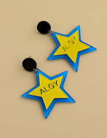 Fashion Yellow Resin Letter Five-pointed Star Earrings