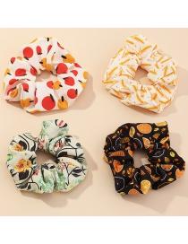 Fashion Suit Fruit And Animal Print Hit Color Large Intestine Circle Hair Rope Set