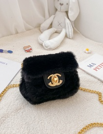 Fashion Black Plush Chain Lock Childrens One-shoulder Diagonal Bag