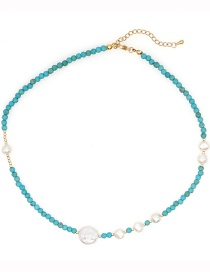 Fashion Round Turquoise Eye Pearl Beaded Necklace