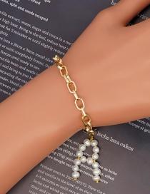 Fashion A Stainless Steel Handmade Letter Pearl Bracelet