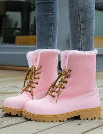 Fashion Pink Lace-up Low-heeled Mid-tube Thick-heel Martin Boots