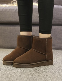 Fashion Brown Anti-slip Mid-tube Round Toe Padded And Velvet Snow Boots