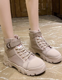 Fashion Pink Thick-soled Canvas Thick Mid-heel Lace-up Martin Boots
