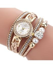 Fashion Beige Rhinestone Pearl Beaded Round Pu Belt Braided Rope Watch