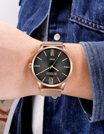 Fashion Rose Gold With Black Surface Large Dial Ultra-thin Alloy Quartz Mens Watch