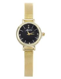 Fashion Gold With Black Face Diamond Disc Fine Mesh Bracelet Watch