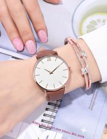 Fashion Brown Large Dial Studded Roman Index Quartz Watch