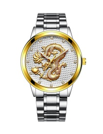 Fashion Silver Color With White Noodles Embossed Dragon Non Mechanical Steel Band Quartz Mens Watch