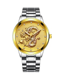 Fashion Silver Color With Gold Color Noodles Embossed Dragon Non Mechanical Steel Band Quartz Mens Watch