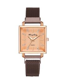 Fashion Brown Square Dial Magnet Mesh Belt Set Diamond British Watch