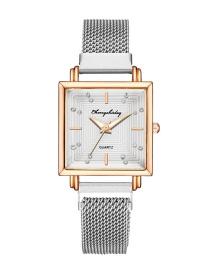 Fashion Silver Color Square Dial Magnet Mesh Belt Set Diamond British Watch