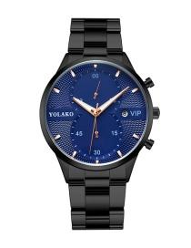 Fashion Black Belt Blue Surface Calendar Steel Strap Ultra-thin Strip Mens Watch