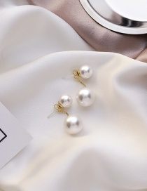 Fashion White Pearl Back Hanging Round Alloy Earrings
