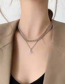 Fashion Silver Color Letter Necklace Thick Chain Alloy Multilayer