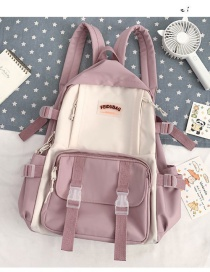 Fashion Pink Without Pendant Stitching Contrast Buckle Letter Logo Backpack