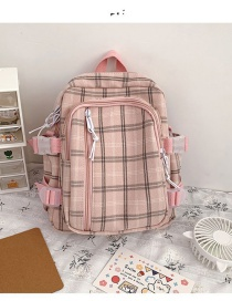 Fashion Pink Check Zipper Panel Backpack