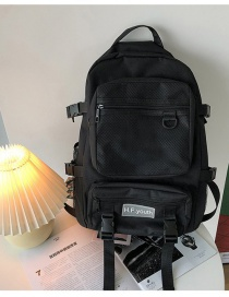 Fashion Black Large-capacity Stitching Backpack With Mesh Letters