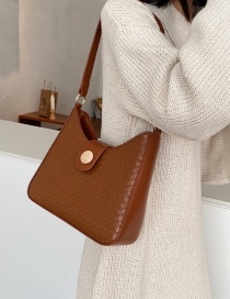 Fashion Brown Woven Solid Color Stitching Shoulder Bag