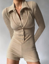 Fashion Khaki Single-breasted Half-open Collar Stitching Solid Color Jumpsuit
