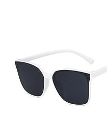 Fashion White Frame Gray Piece Square Resin Sunglasses