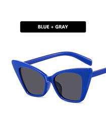 Fashion Blue Frame Gray Piece Cat Eye Resin Small Frame Sunglasses