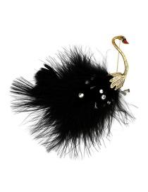 Fashion Black Black Swan Ostrich Feather Pearl Pin Brooch