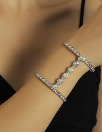 Fashion Silver Color Geometric Letters And Diamond Alloy Bracelet