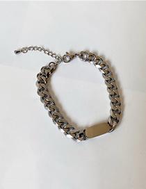 Fashion Bracelet-silver Color Thick Chain Titanium Steel Geometric Necklace Bracelet