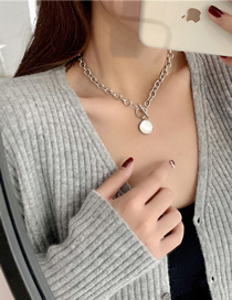 Fashion Silver Color Titanium Steel Mother-of-pearl Round Necklace
