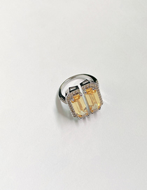 Fashion Yellow Square Diamond Alloy Open Ring