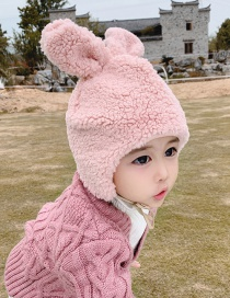 Fashion Pink 6 Months-8 Years Old Bunny Ears Lamb Fur Children Hat