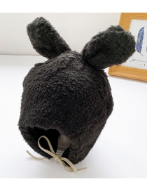 Fashion Black 6 Months-8 Years Old Bunny Ears Lamb Fur Children Hat