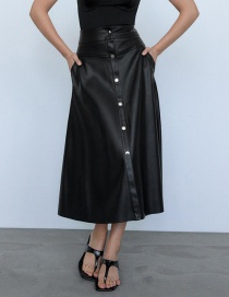 Fashion Black Faux Leather Single-breasted Skirt