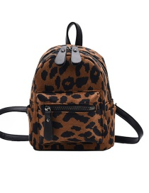 Fashion Leopard Leopard Print Zip Backpack