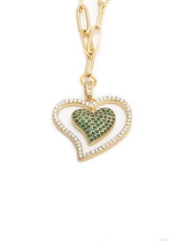 Fashion Love Micro-inlaid Zircon Heart Copper Gold-plated Hollow Necklace