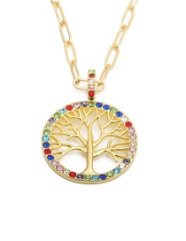 Fashion Color Tree Of Life Alloy Rhinestone Tree Of Life Hollow Necklace