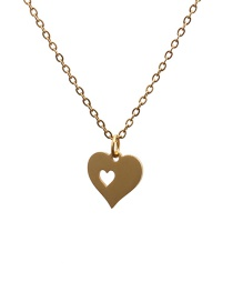 Fashion Gold Color Love Titanium Steel Fully Polished Cut Love Heart Pendant Hollow Necklace