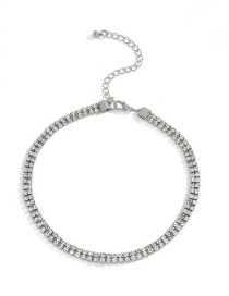 Fashion White K Claw Chain Full Diamond Thick Chain Alloy Necklace