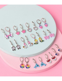 Fashion Color Mixing Alloy Diamond Oil Dripping Animal Long Earrings Set