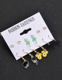 Fashion Color Mixing Oleoresin Pearl Geometric Alloy Earrings Set
