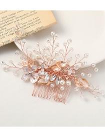 Peine De Flores De Aleación Con Cuentas De Diamantes Y Perlas