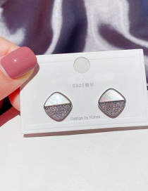 Fashion Platinum Plated Stitched Zircon Micro-inlaid Natural Shell Diamond Earrings