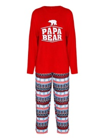 Fashion Dad Model-red Bear Print Homewear Parent-child Set