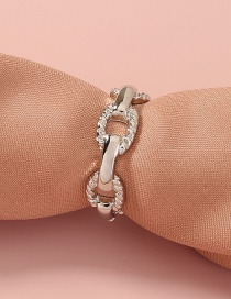 Fashion Silver Color Braided Chain Link Hollow Ring