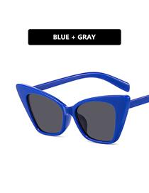 Fashion Blue Frame Gray Piece Large-frame Cat-eye Resin Sunglasses