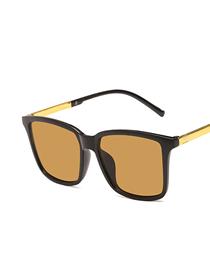 Fashion Bright Black Tea Square Resin Alloy Sunglasses