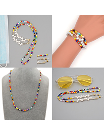 Fashion Contrast Rice Beads Contrasting Color Skid Glasses Chain